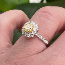 Load image into Gallery viewer, GIA natural yellow diamond ring in 18k white gold