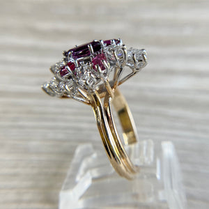 Spectacular ruby and diamond cocktail ring