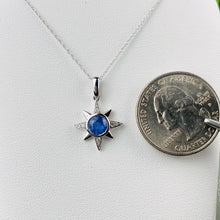 Load image into Gallery viewer, Cornflower blue Sapphire and diamond compass star necklace
