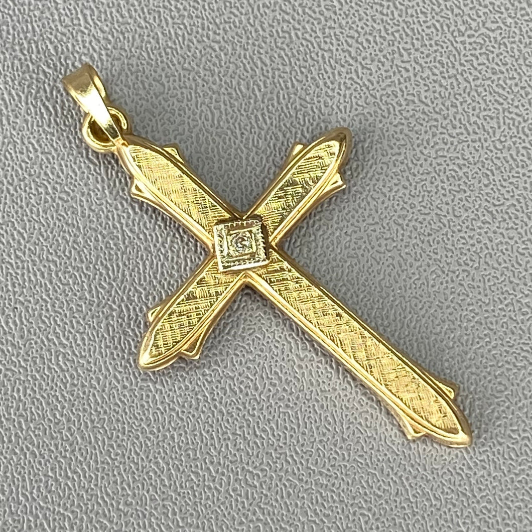 Vintage cross with diamond in yellow gold