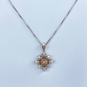 Natural brownish pink diamond necklace in 18k white gold