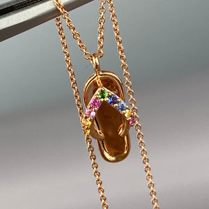14k rose gold flip flop necklace