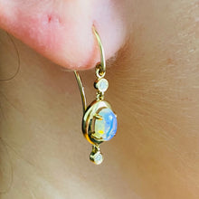 Load image into Gallery viewer, Opal and diamond earrings in 14k yellow gold