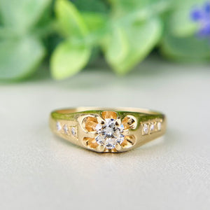 Vintage diamond belcher ring in 14k yellow gold