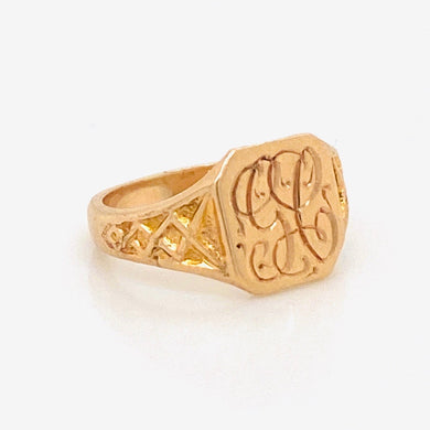 Baby signet ring with engraved GC