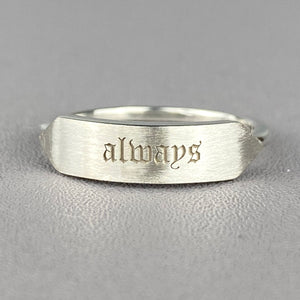 Sterling silver 'always' signet ring