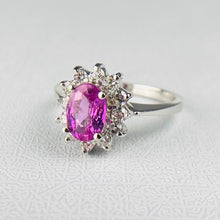 Load image into Gallery viewer, Pink Sapphire and diamond cluster ring in 14k white gold