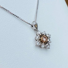 Load image into Gallery viewer, Natural brownish pink diamond necklace in 18k white gold