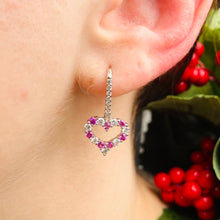 Load image into Gallery viewer, Pink sapphire and diamond heart earrings