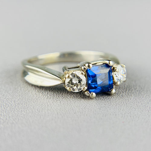 Sapphire and diamond 3 stone ring in white gold