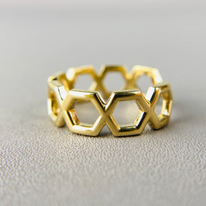 14k yellow gold hexagonal band ring