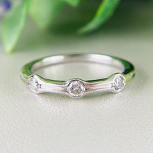 Load image into Gallery viewer, 3 stone diamond band in white gold