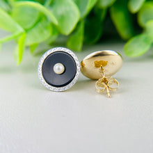 Load image into Gallery viewer, Onyx and pearl earrings in platinum and yellow gold