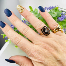 Load image into Gallery viewer, Vintage onyx and diamond ring in yellow gold