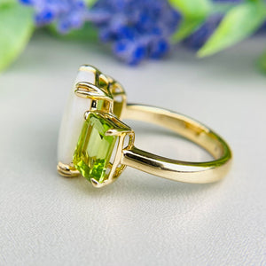 Opal and peridot ring in 14k yellow gold by Effy