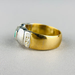 18k yellow gold emerald and diamond ring