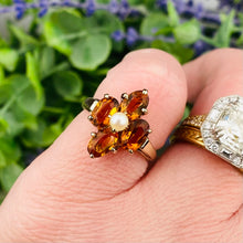 Load image into Gallery viewer, Citrine and pearl ring in 10k yellow gold