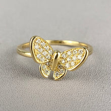 Load image into Gallery viewer, Diamond butterfly ring in yellow gold