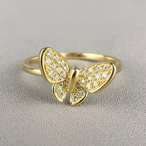 Diamond butterfly ring in yellow gold