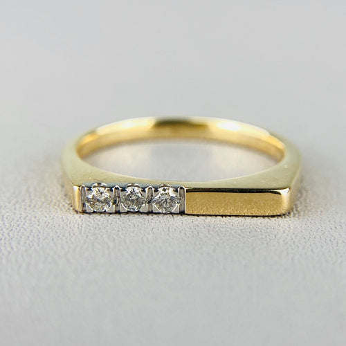 RESERVED : Diamond bar ring in yellow gold