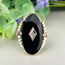 Load image into Gallery viewer, Vintage large oval onyx and diamond ring in yellow gold