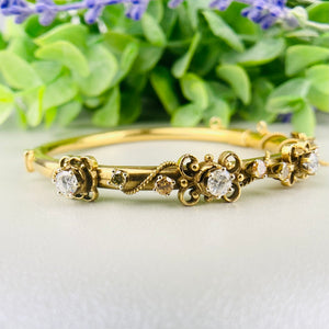 Vintage diamond bangle in 14k yellow gold
