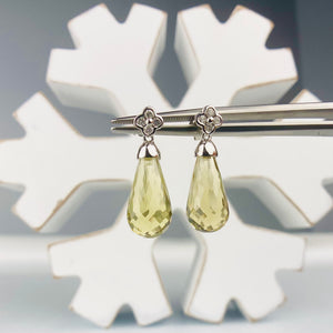 Smokey Quartz Briolette and diamond drop earrings in 14k white gold