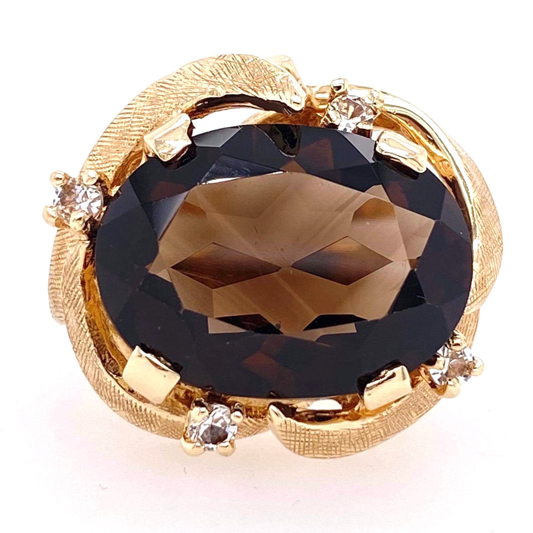 Large Smokey quartz ring in 10k yellow gold