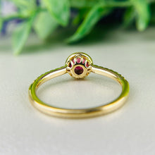 Load image into Gallery viewer, Rubellite and diamond ring in 14k yellow gold