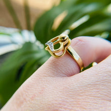 Load image into Gallery viewer, Spinning diamond heart ring  in 14k yellow gold
