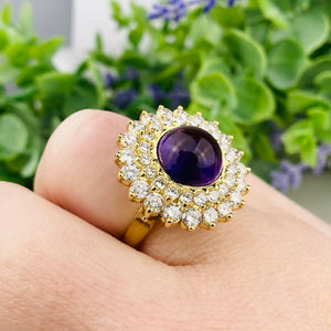 Sensational amethyst and Diamond vintage ring in 18k yellow gold