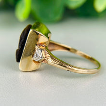 Load image into Gallery viewer, Vintage tigers eye and diamond cameo ring in yellow gold