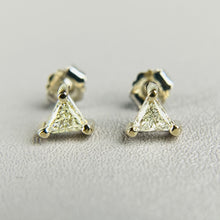 Load image into Gallery viewer, Trillion cut Diamond studs earrings in 14k white gold