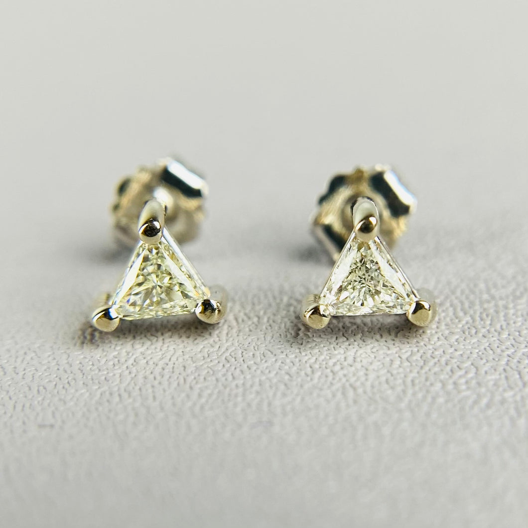 Trillion cut Diamond studs earrings in 14k white gold
