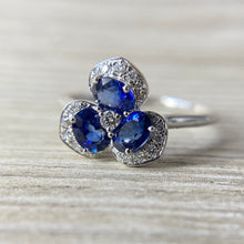 Load image into Gallery viewer, 14k white gold sapphire and diamond pansy ring