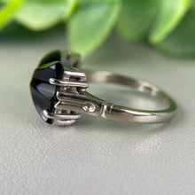 Load image into Gallery viewer, FINAL SALE!  Vintage bow shaped onyx ring in white gold