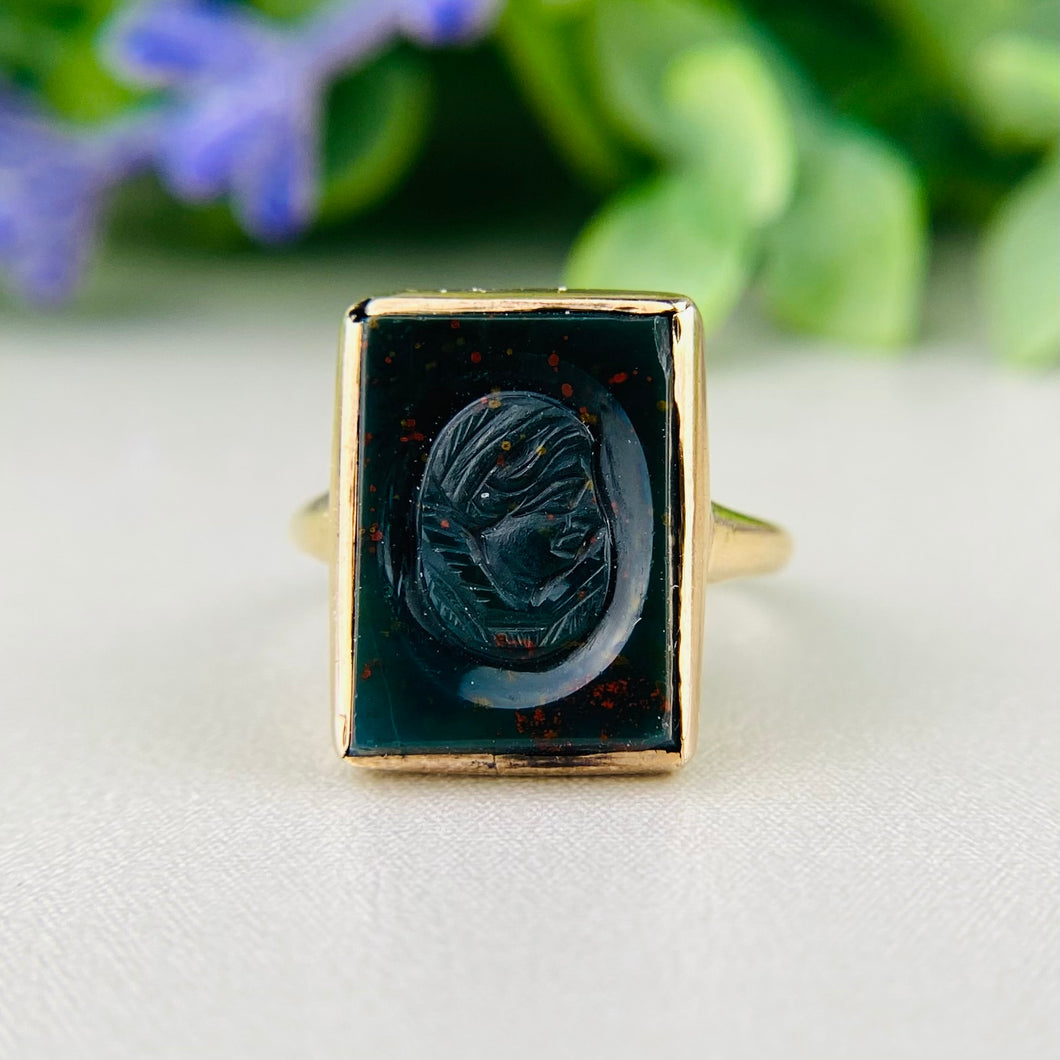 Antique Bloodstone cameo ring in 14k yellow gold