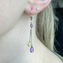 Load image into Gallery viewer, Amethyst and lemon quartz briolette earrings