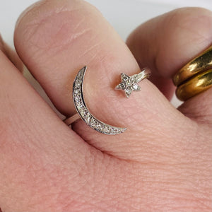 Crescent moon and star ring in 14k white gold by Effy