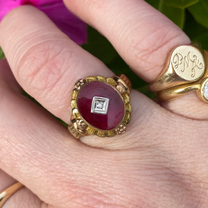 Vintage lab ruby and diamond ring