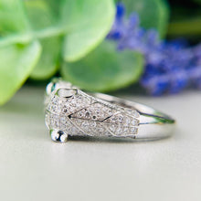 Load image into Gallery viewer, Double panther cat diamond and emerald ring in 14k white gold by Effy