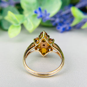 Citrine and pearl ring in 10k yellow gold