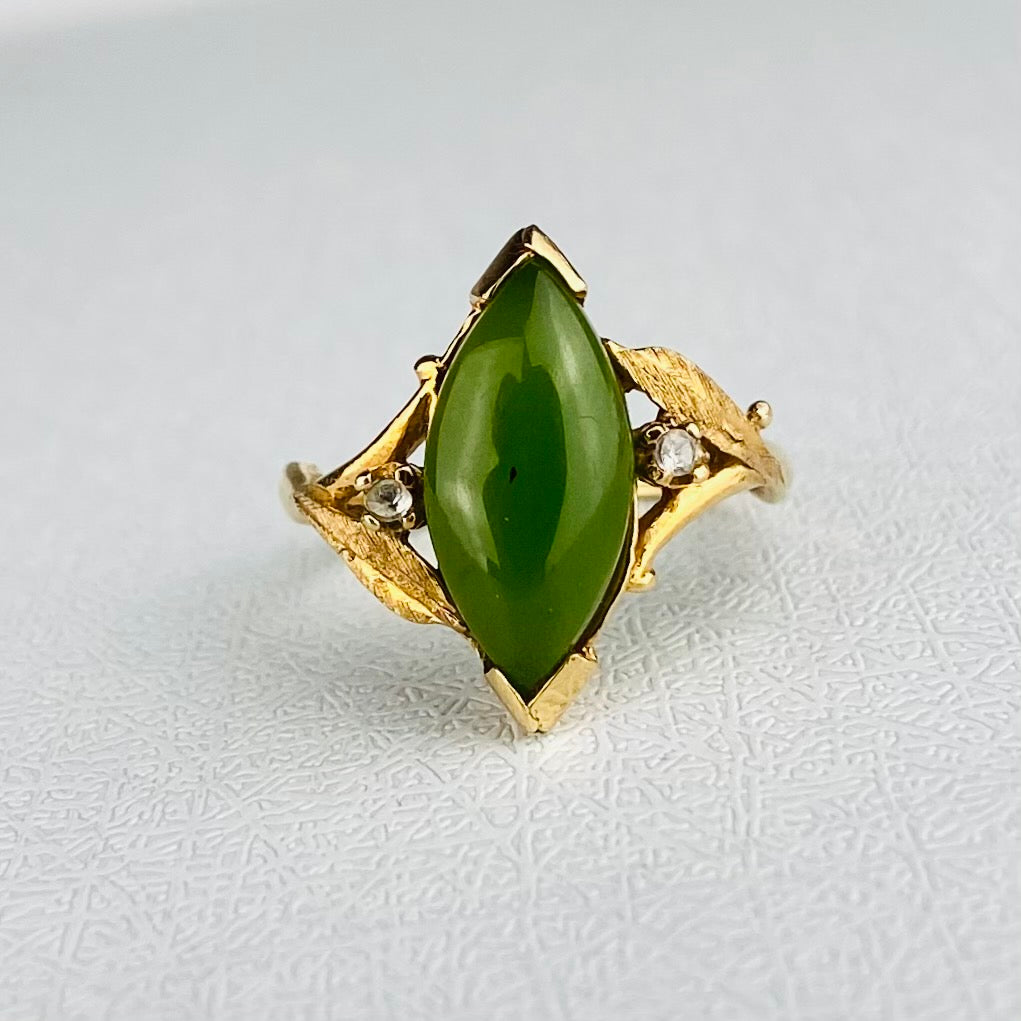 Vintage nephrite jade navette ring in yellow gold