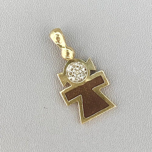 Diamond and enamel girl charm in yellow gold