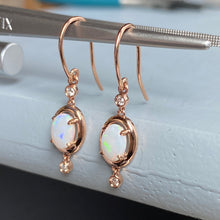 Load image into Gallery viewer, CLEARANCE!  Opal and diamond fairytale earrings in 14k rose gold