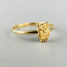 Load image into Gallery viewer, 14k yellow gold owl ring