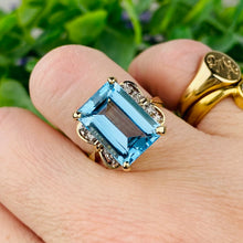 Load image into Gallery viewer, Blue topaz and diamond ring in 14k yellow gold