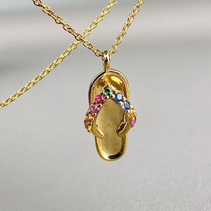 14k yellow gold flip flop necklace