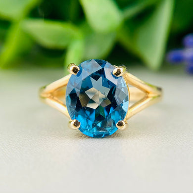 RESERVED: PAYMENT 1 OF 4: London blue topaz ring in 14k yellow gold