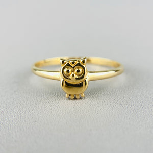 14k yellow gold owl ring